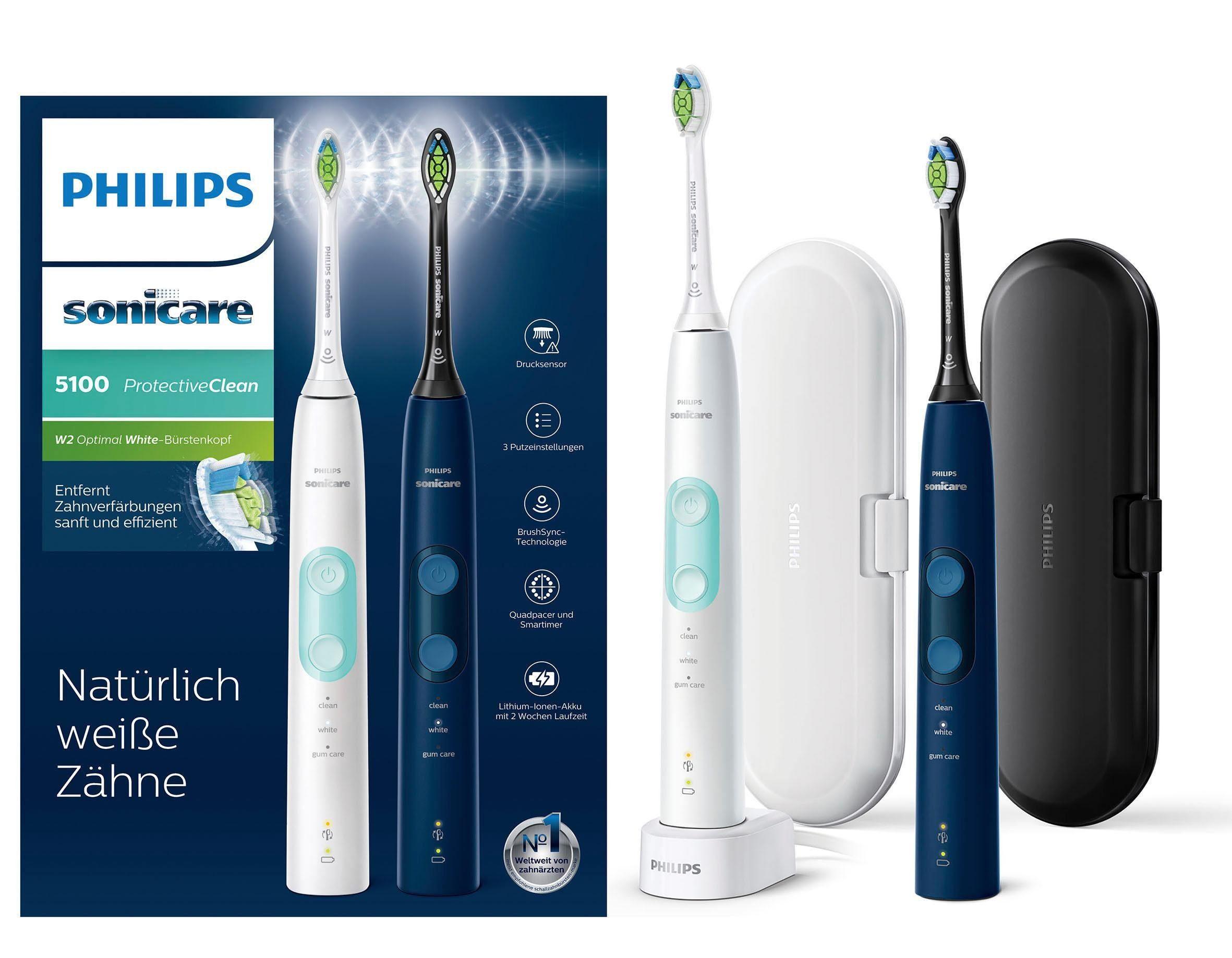 Philips Sonicare Elektrische Zahnbürste HX6851/34, Aufsteckbürsten: 2 St., 2er-Set, Drucksensor, 3 Programme, Doppelpack, weiß und blau
