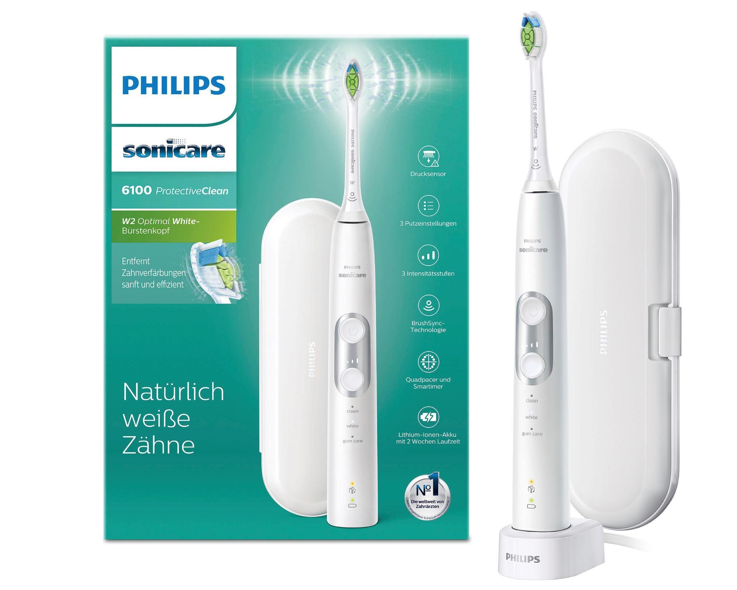 Philips Sonicare Schallzahnbürste HX6877/28 ProtectiveClean 6100, Aufsteckbürsten: 1 St., mit 3 Putzprogrammen inkl. Reiseetui & Ladegerät