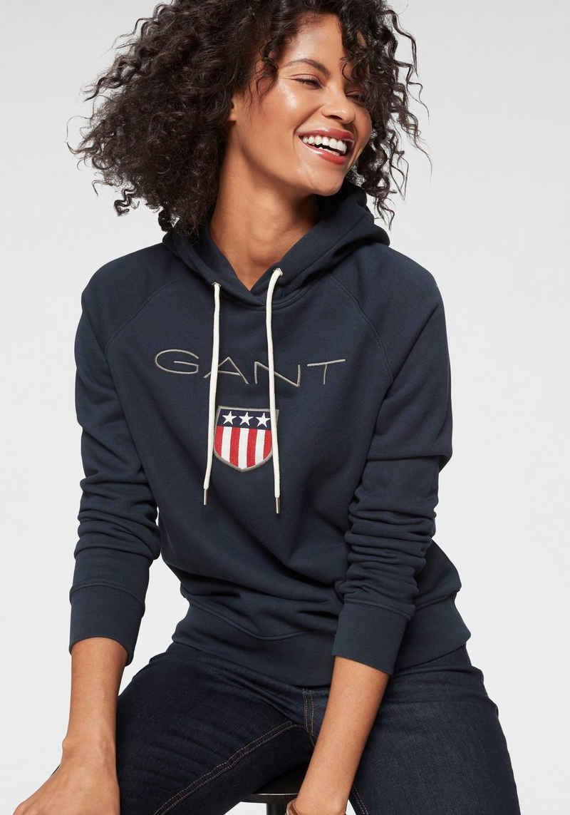 Gant Sweatshirt mit großer Label-Applikation vorne
