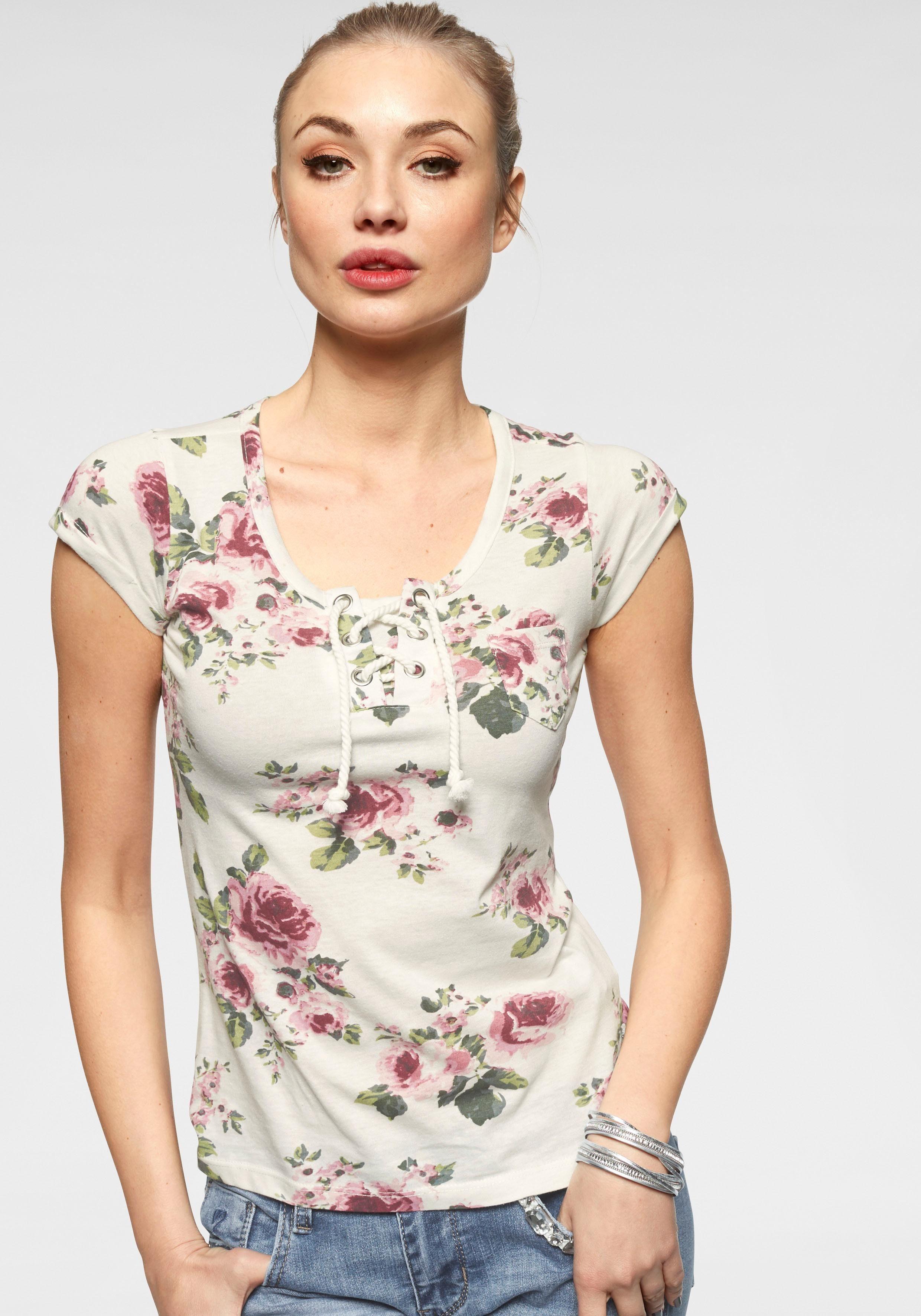 HaILY'S T-Shirt »FLORENTINA« mit Schnürung am Ausschnitt