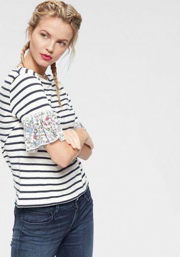 LTB T-Shirt »PIBIGA« mit Streifen & geblümten Volantärmeln