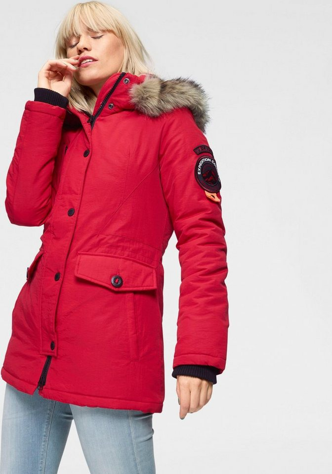 superdry parka ashley everest mit abnehmbarer kapuze und. Black Bedroom Furniture Sets. Home Design Ideas