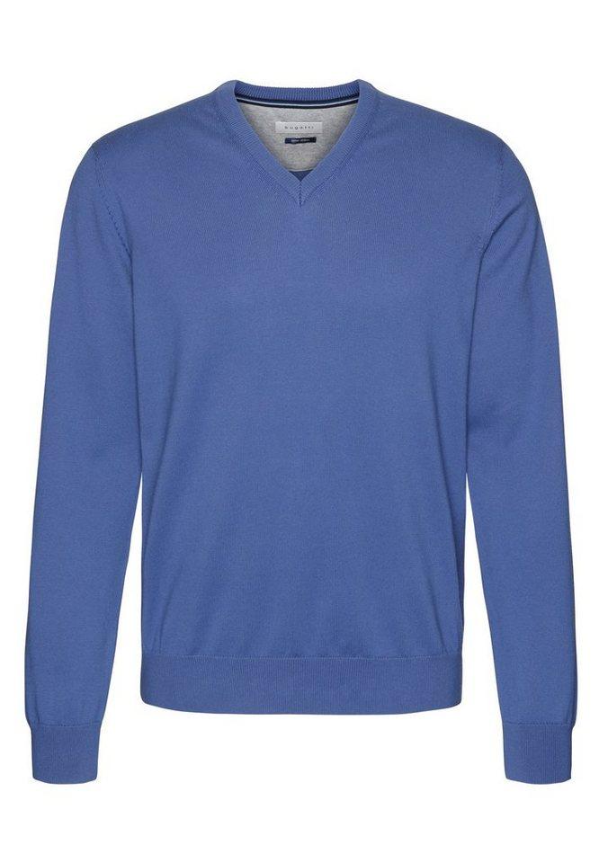 bugatti -  V-Ausschnitt-Pullover mit einem V-Ausschnitt