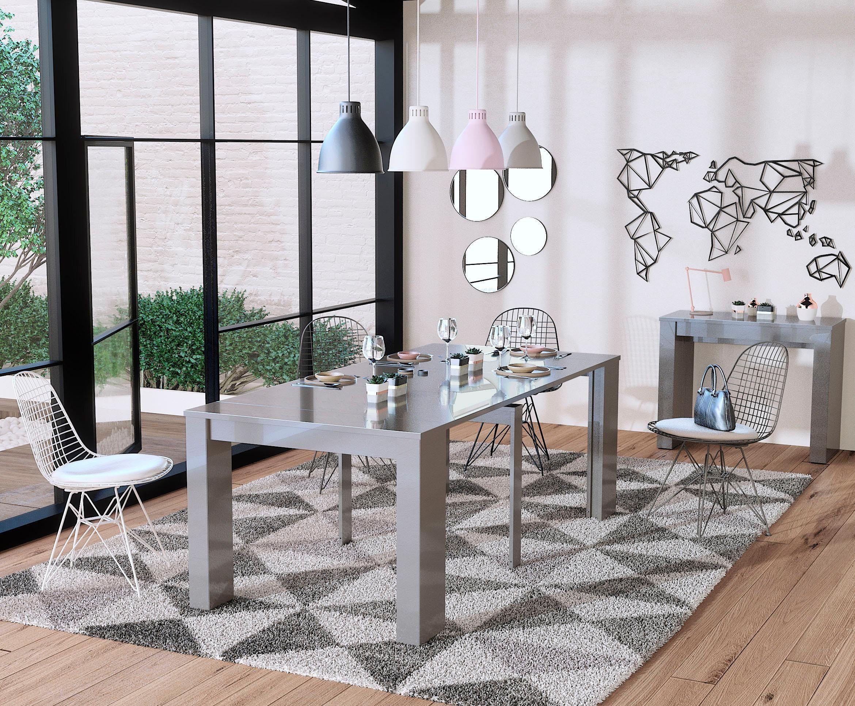 Home affaire Esstisch »Peninsule« aus massivem Eichenholz, verlängerbar durch Ansteckplatten auf 264 cm