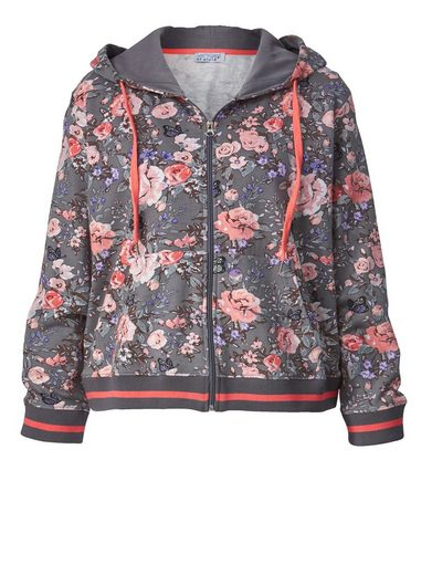 Angel of Style by Happy Size Sweatjacke mit Blumen-Print