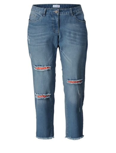 Angel of Style by Happy Size Slim Fit Jeans mit offenem Saum