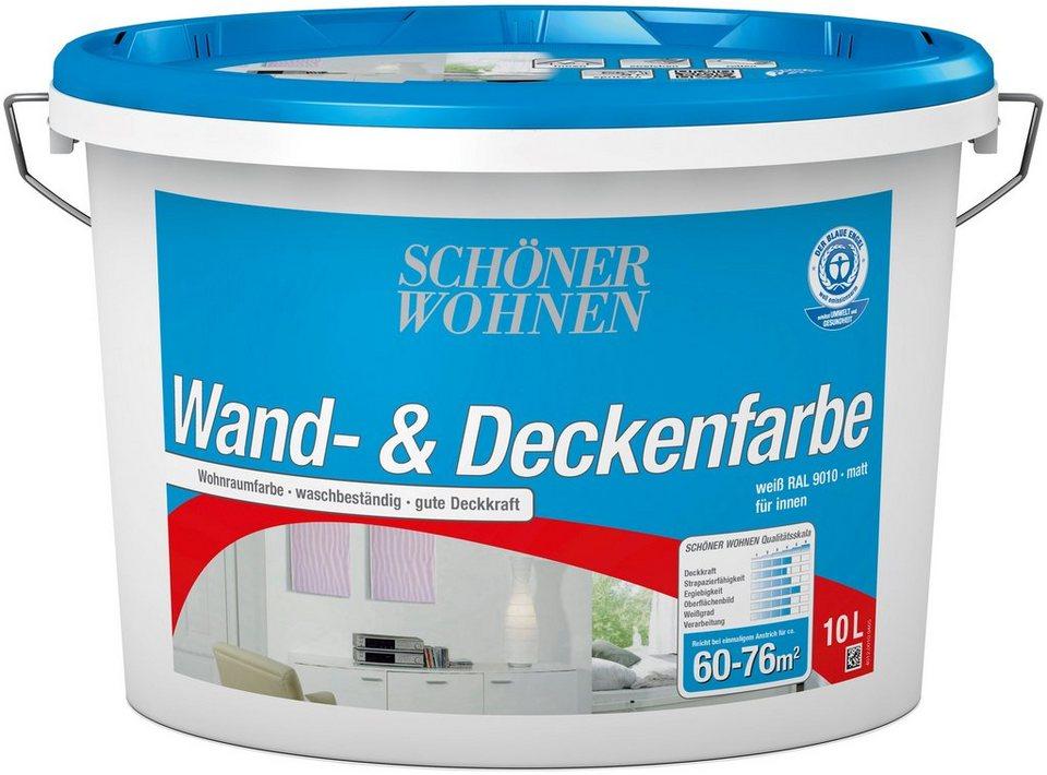 SCHÖNER WOHNEN FARBE Innenfarbe »Wand- und Deckenfarbe 10,0L weiss ...