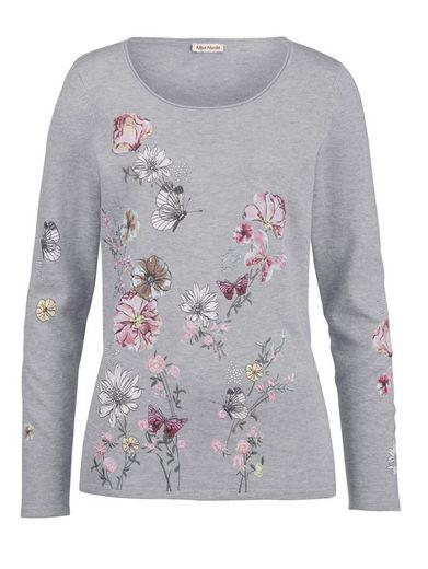 Alba Moda Pullover mit angesagtem floralen Druck und Stickerei
