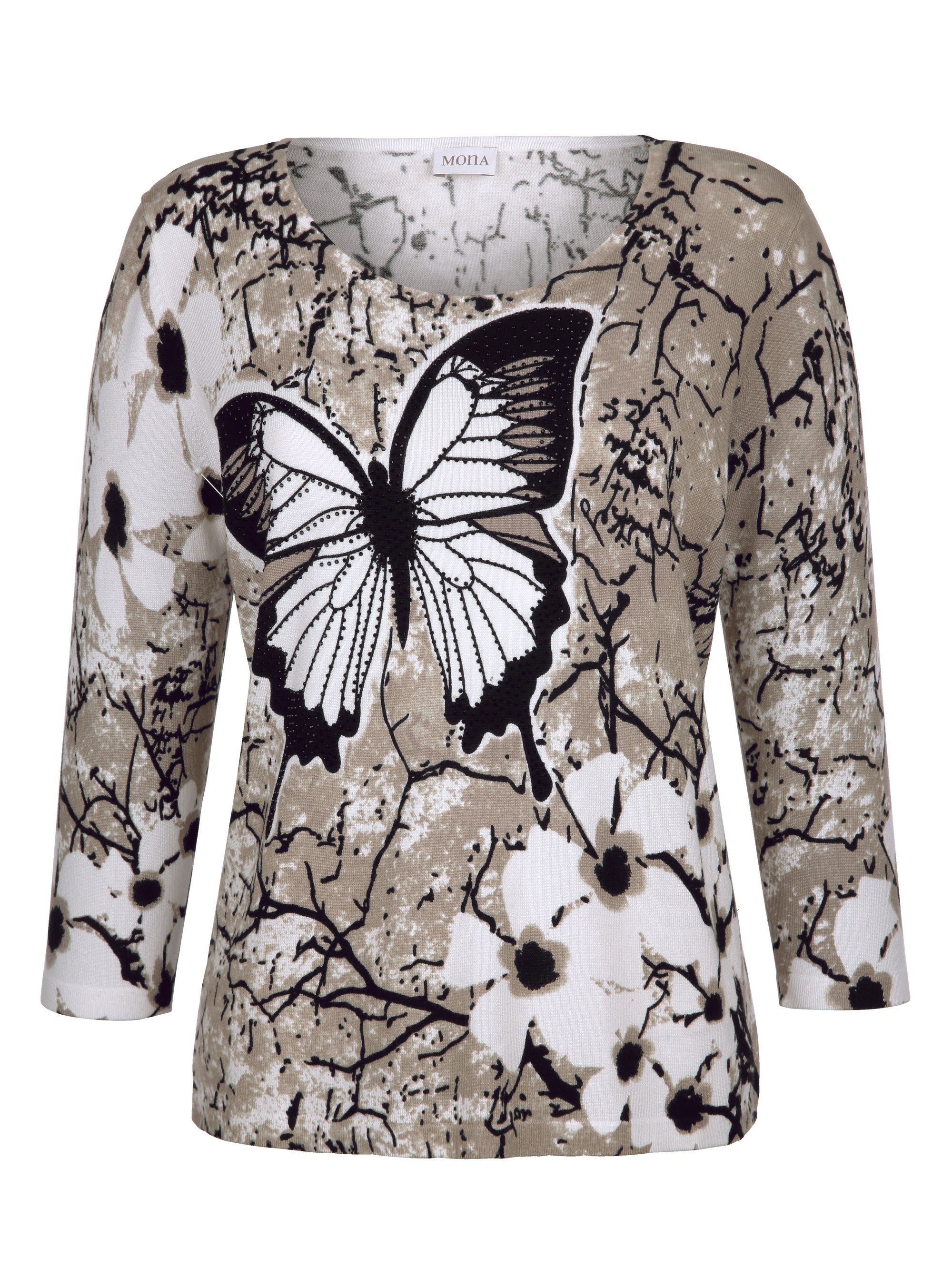 Platziertem Pullover Mona Schmetterlingsdruck Pullover Mona Mit Mit Schmetterlingsdruck Mona Platziertem 54ARL3jq