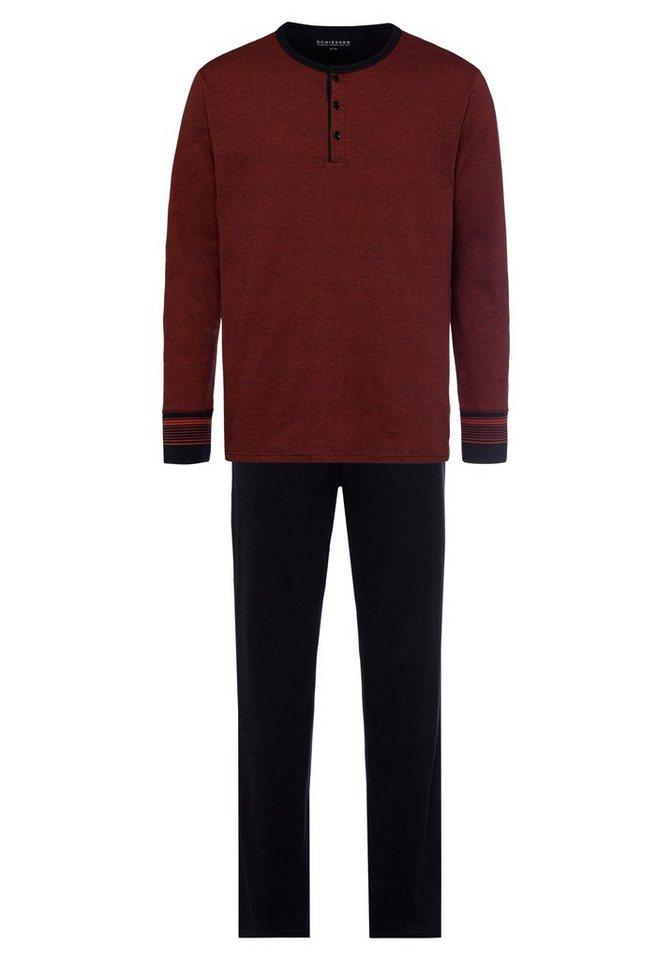 c5aa50e188 Schiesser Schlafanzug lang mit Knopfleiste und Ringel online kaufen ...