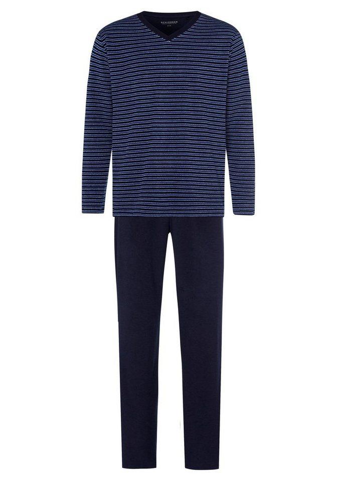07d572c126 Schiesser Pyjama, lang, aus Frottee, geringeltes Oberteil online ...