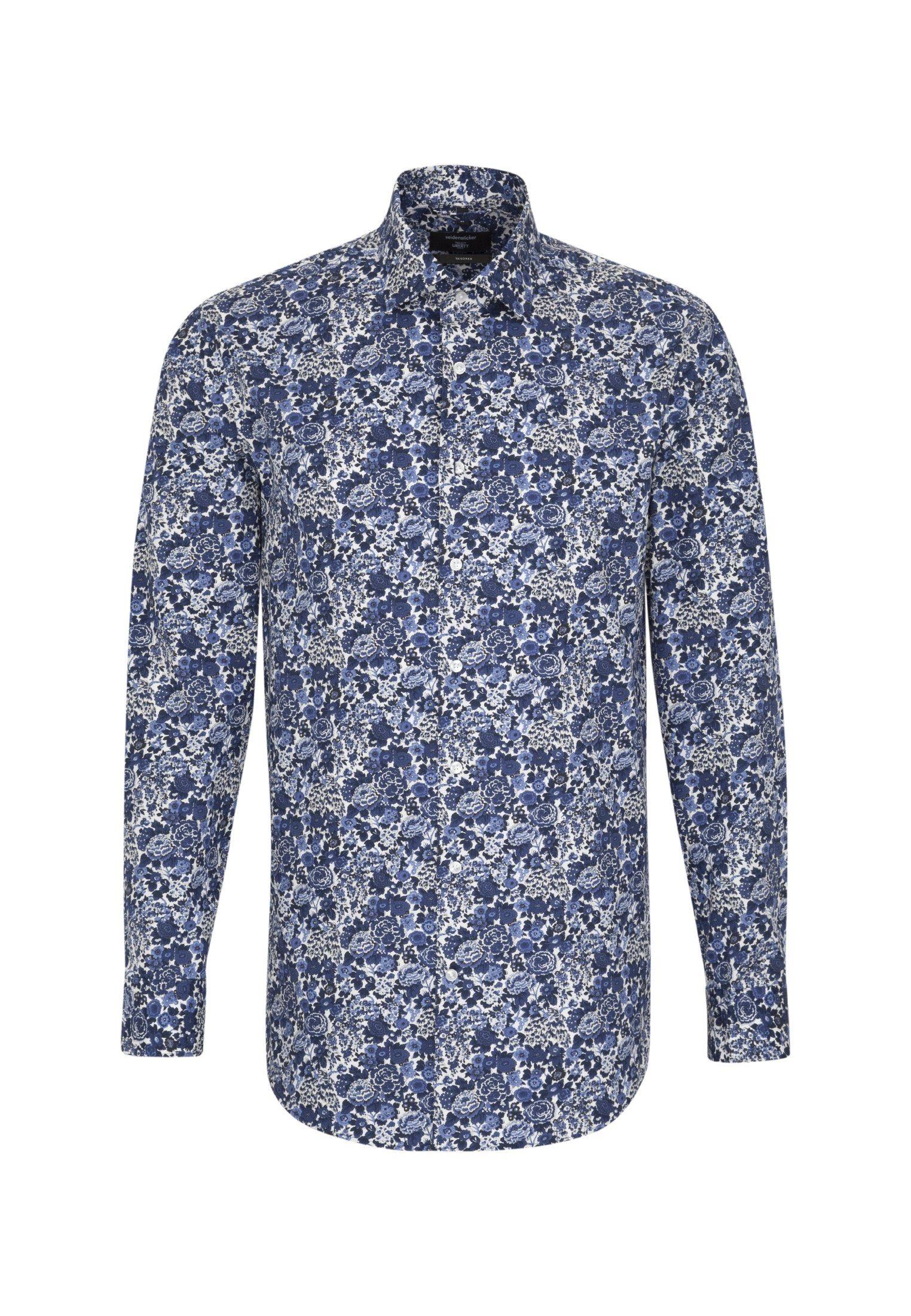 seidensticker Businesshemd »Tailored« Tailored Langarm Kent-Kragen Floraler Print