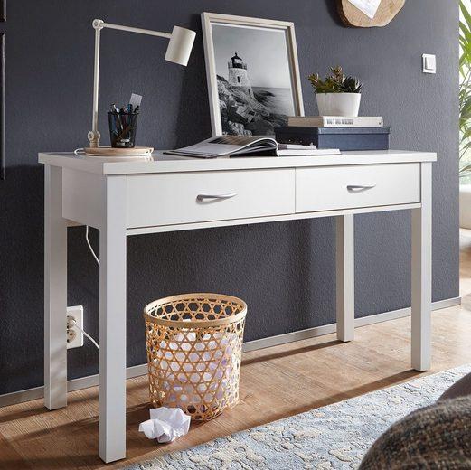 Wohnling Schreibtisch »WL1.158«, SAM Weiß mit 2 Schubladen 120 x 77 x 50 cm modern Konsolentisch Schminktisch platzsparend Laptoptisch Arbeitstisch für kleine Räume