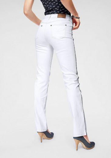 Gerade Jeans High WaistMit Arizona Kontraststreifen Seitlichem Weiß »annett« JKcl1FT