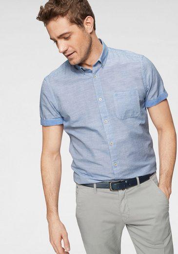 Marc O'Polo Kurzarmhemd mit feinem Streifenmuster und Armaufschlag