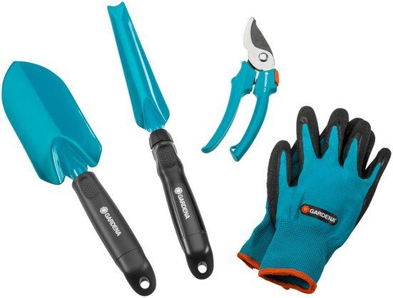 GARDENA Gartenpflege-Set, 3 Kleingeräte mit Handschuhen