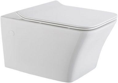 Wand-WC »Trento eckig«, Spülrandloses Tiefspül-WC, inkl. WC-Sitz mit Softclose