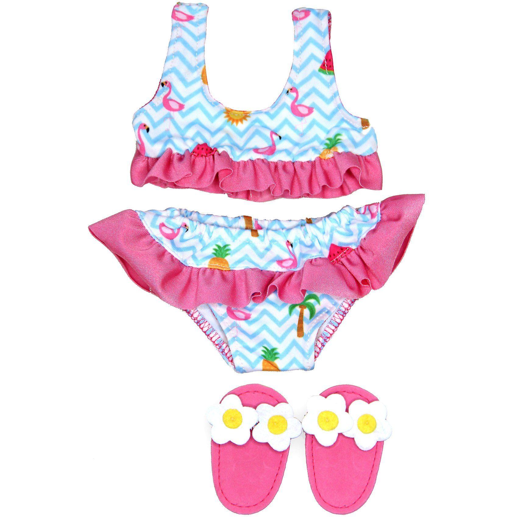 Heless Flamingo Bikini mit Badeschläppchen, Gr. 35 45 cm, Puppenkle online kaufen | OTTO