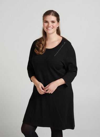 Zizzi Strickkleid Damen Kleid 3/4 Arm Elegant Strick Rundhals Strickkleid Große Größen