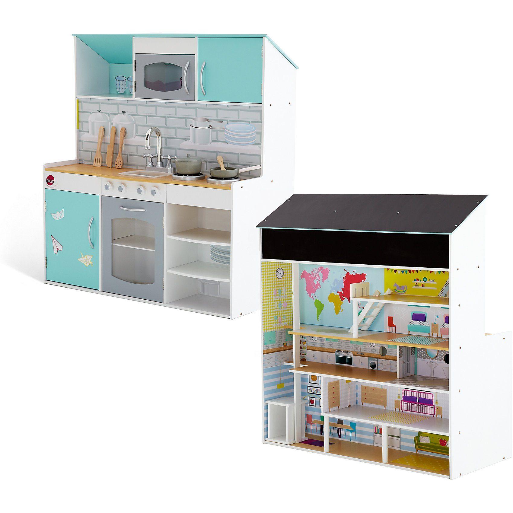 plum ® 2-in-1 Stadthaus - Spielküche und Puppenhaus aus Holz