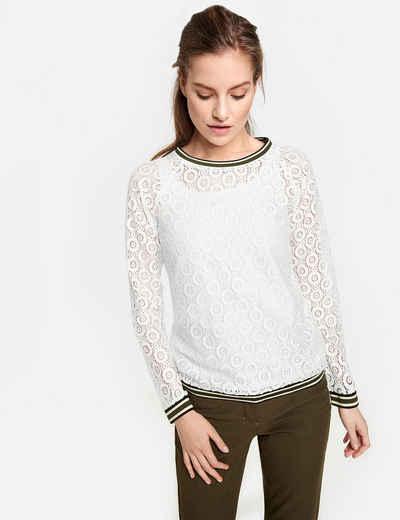 80749073a65b67 TAIFUN T-Shirt Langarm Rundhals »Spitzenshirt mit Kontraststreifen«