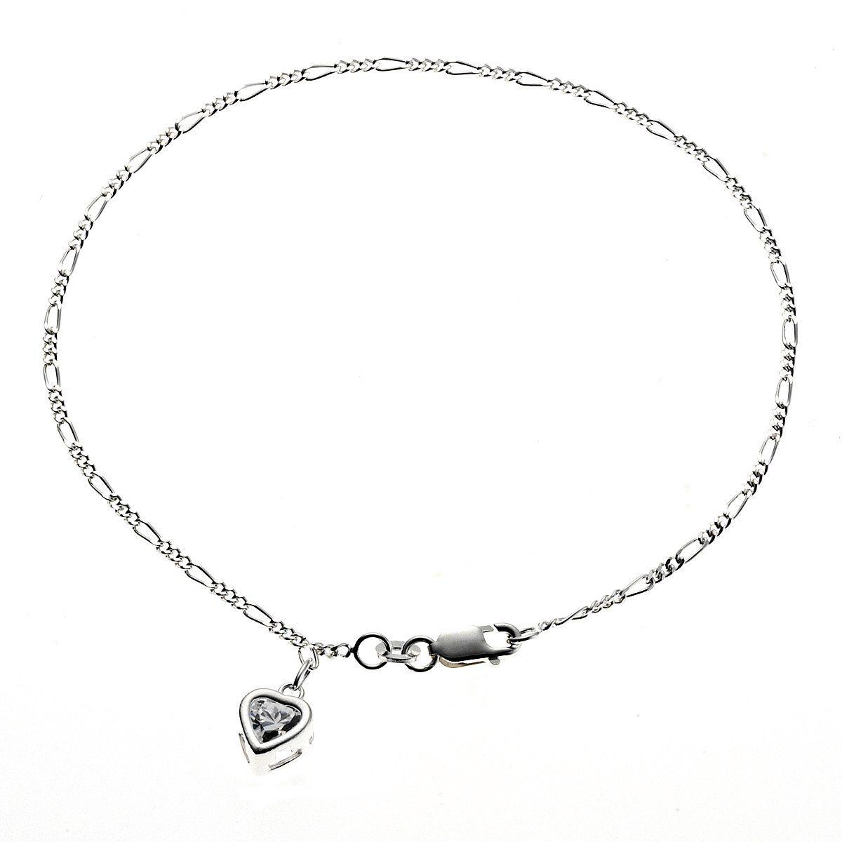 Zeeme Fußkette »925/- Sterling Silber Herz Zirkonia«