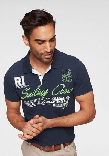 Rhode Island Poloshirt mit Frontstickerei & Print
