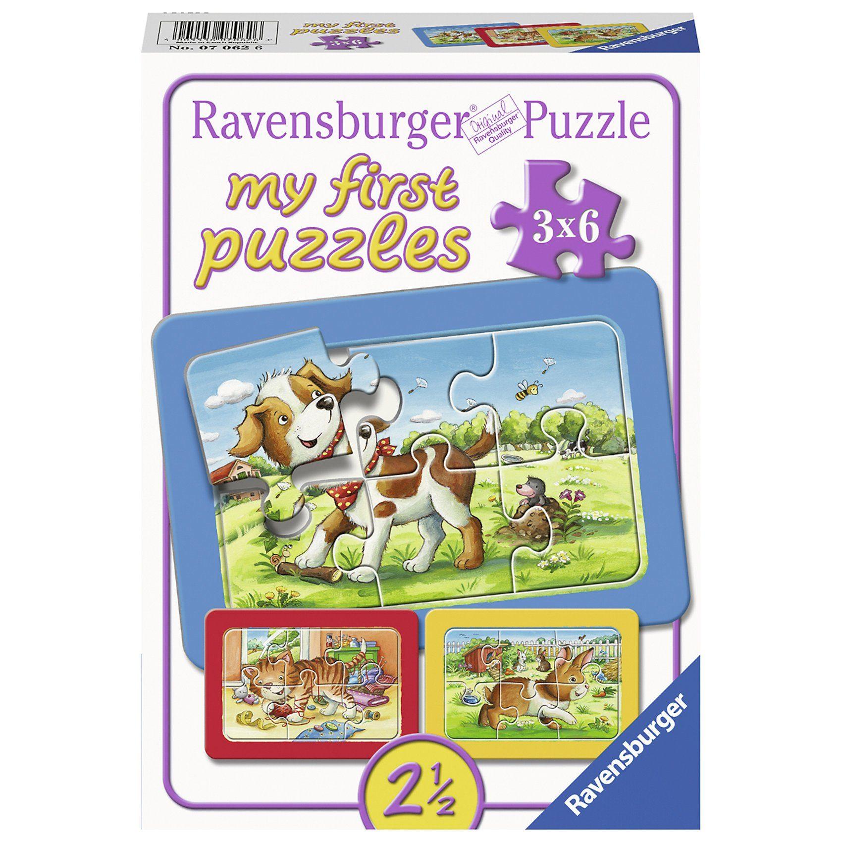 Ravensburger 3er Set Puzzle, je 6 Teile, 21x15 cm, mit Rahmen, Meine Tier