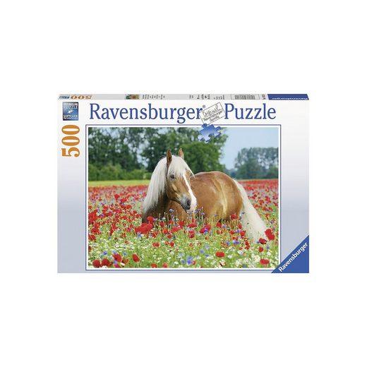 Ravensburger Puzzle 500 Teile, 49x36 cm, Pferd im Mohnfeld