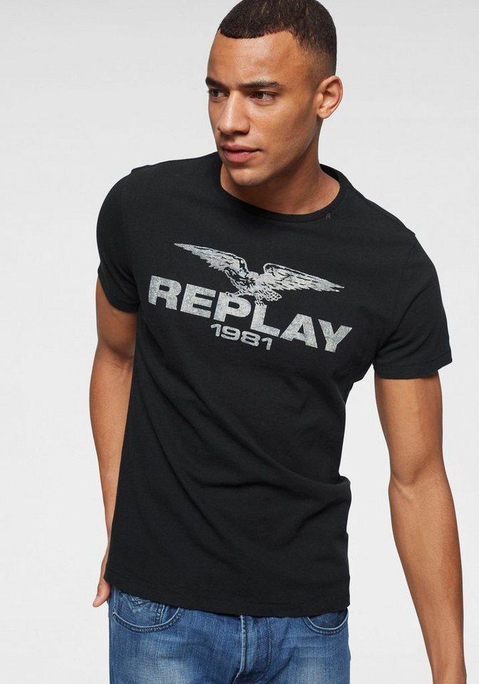 c0eecf94228b0 Replay Print-Shirt Mit Markenfrontprint