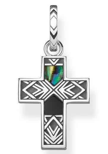THOMAS SABO Kreuzanhänger »Kreuz Abalone Perlmutt, PE835-976-7«, mit Perlmutt und Onyx