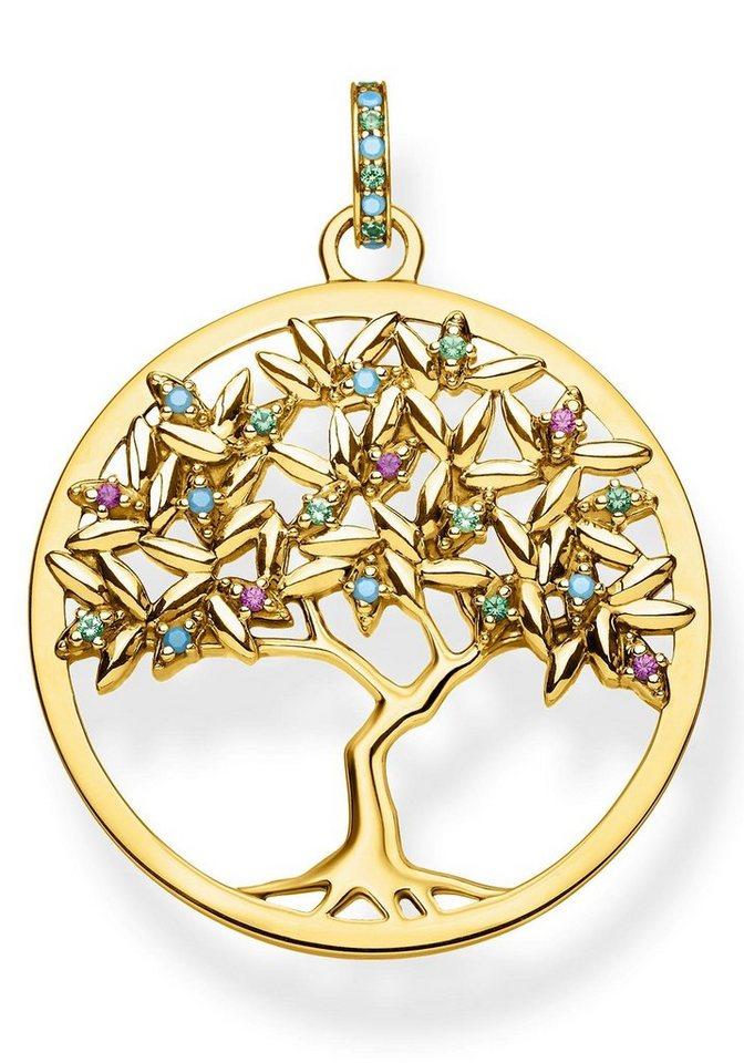 THOMAS SABO Kettenanhänger »Tree of Love, PE826-973-7« mit synth. Korund und Glassteinen | Schmuck > Halsketten > Kettenanhänger | Bunt | THOMAS SABO