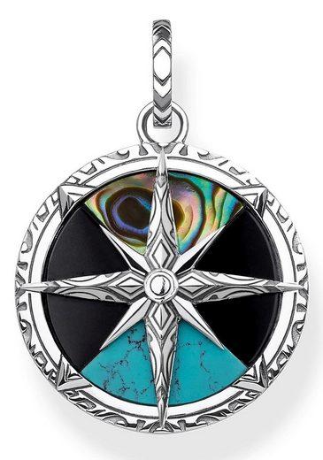 THOMAS SABO Kettenanhänger »Kompass Klein, PE833-980-7«, mit Perlmutt, Onyx und imit. Türkis