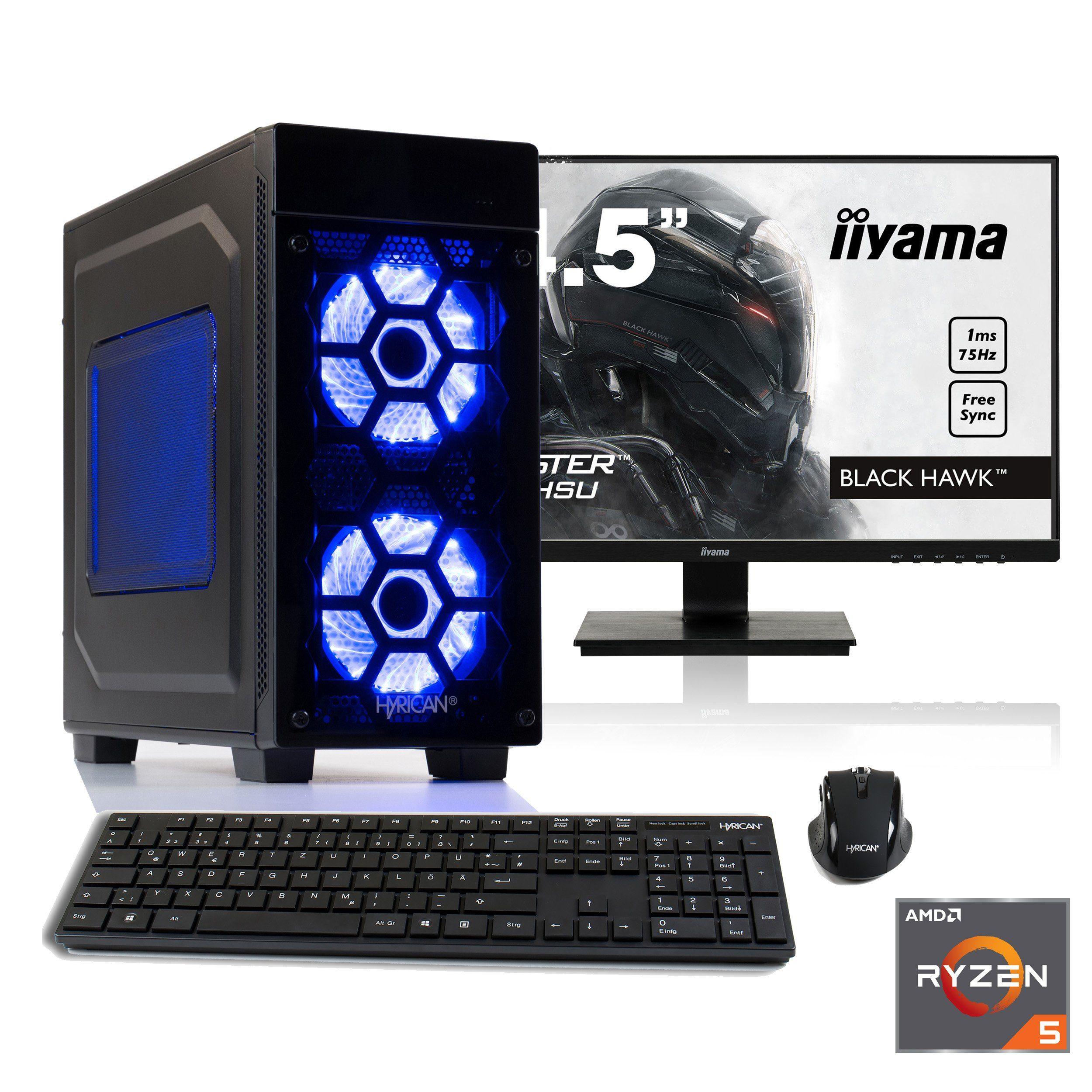 "HYRICAN Gaming PC Ryzen 5 2600, GTX 1050 Ti, 8GB RAM + 62,2cm (24"") TFT »Striker SET1712«"