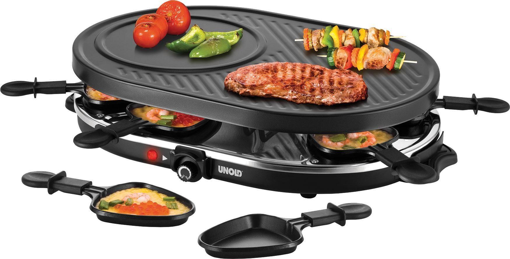 Unold Raclette Gourmet 48795, 8 Raclettepfännchen, 1200 W