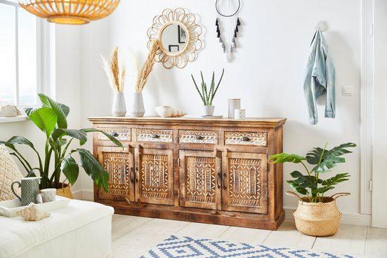 Home affaire Sideboard »Maneesh«, aus massivem Mangoholz, mit vielen Stauraummöglichkeiten, Breite 179 cm