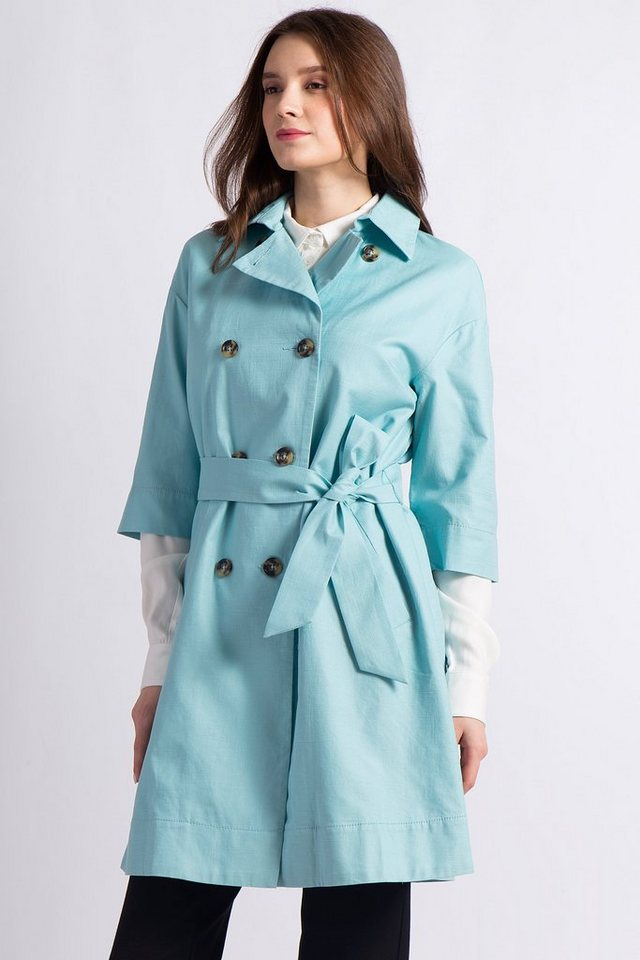 Finn Flare Trenchcoat mit femininer Silhouette | Bekleidung > Mäntel > Trenchcoats | Blau | Baumwolle | Finn Flare
