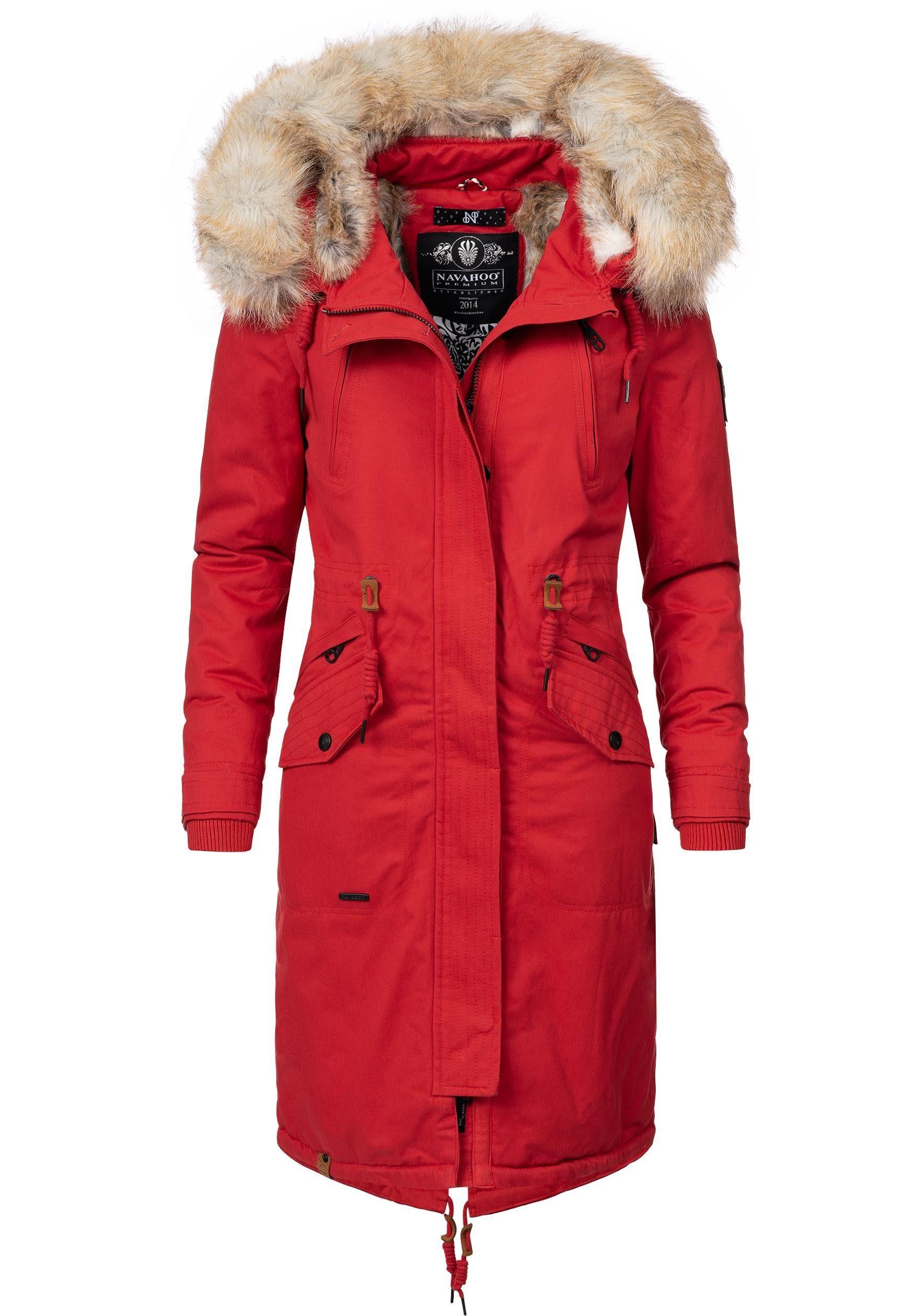 Navahoo Wintermantel »Kin Joo« stylischer Damen Winterparka mit Kunstfell Kapuze