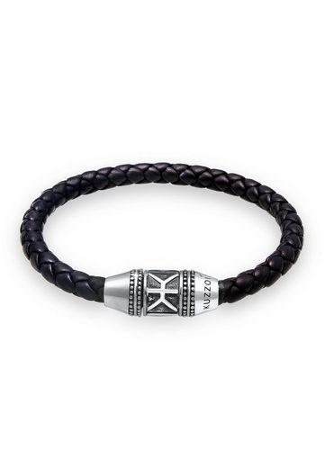 Kuzzoi Armband »Herren Leder Logo Magnet-Verschluß 925 Silber«