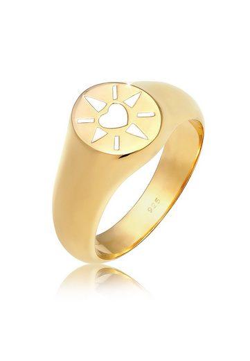 Elli Fingerring »Siegelring Herz Emaille 925er Silber«
