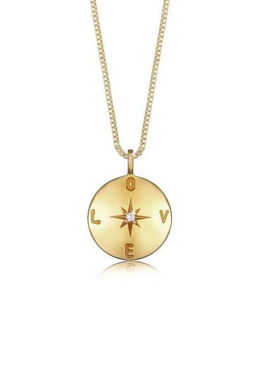 Elli Collierkettchen »Box Chain Love Plättchen Coin Zirkonia 925 Silber«