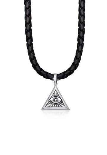 Kuzzoi Kette mit Anhänger »Herren Leder Dreieck Anhänger Auge Gottes«