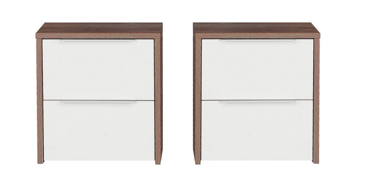 FORTE Nachttisch-Set »Esporao«, 2-teilig | Schlafzimmer > Nachttische | Weiß | FORTE