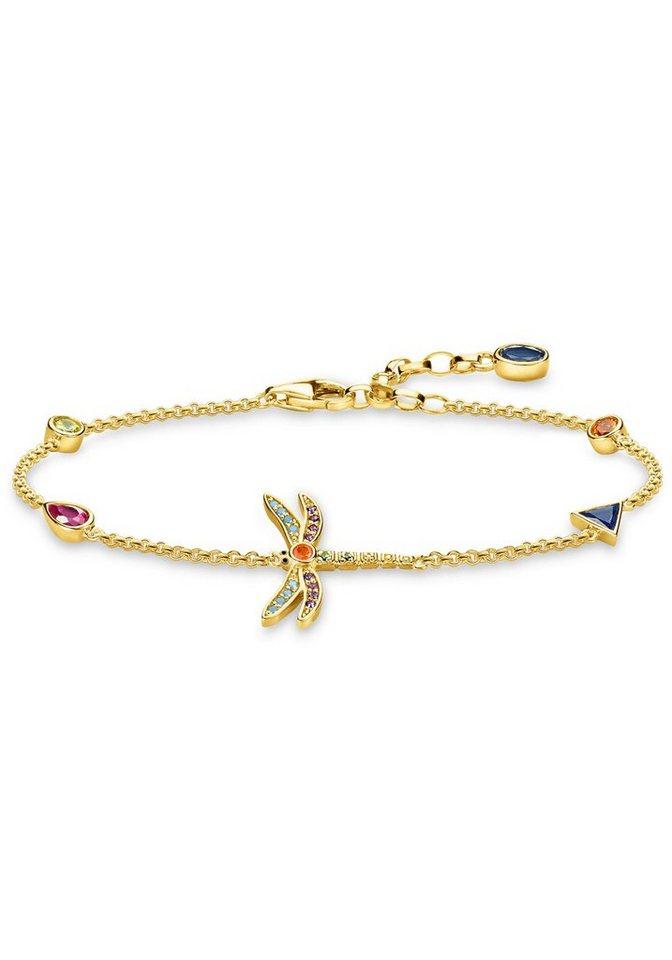 THOMAS SABO Armband »Libelle, A1839-315-7-L19v« mit Glassteinen, synth. Korund, Spinell und Zirkonia