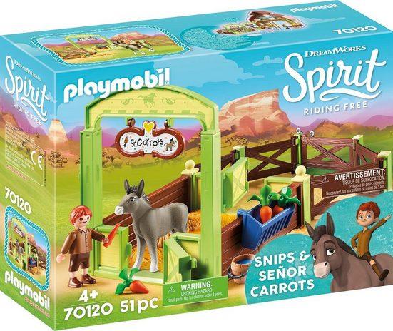 Playmobil® Konstruktions-Spielset »Pferdebox »Snips & Herr Karotte« (70120), Spirit Riding Free«, Made in Germany