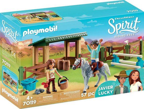 Playmobil® Konstruktions-Spielset »Reitplatz mit Lucky & Javier (70119), »Spirit - Riding Free««, Kunststoff