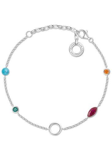 THOMAS SABO Charm-Armband »Farbige Steine, X0274-965-7-L19v« mit Glasstein, imit. Türkis, synth. Korund und Zirkonia