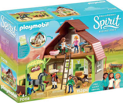Playmobil® Konstruktions-Spielset »Stall mit Lucky, Pru & Abigail (70118), Spirit Riding Free«, (153 St), Made in Germany