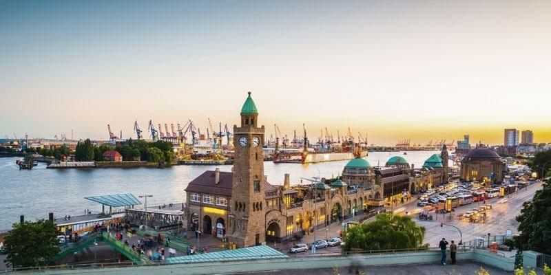 Artland Wandfolie »David Engel: Hamburg Hafen und Landungsbrücken«