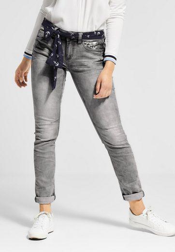 STREET ONE Comfort-fit-Jeans mit Bindegürtel im Tuch-Style